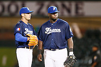 21 September 2012: Pitcher Matthieu Brelle-Andrade is seen next to Rene Leveret during France vs South Africa tie game 2-2, rain delayed at the end of the 9th inning at 1 AM, during the 2012 World Baseball Classic Qualifier round, in Jupiter, Florida, USA. Game to resume 22 September 2012 at noon.