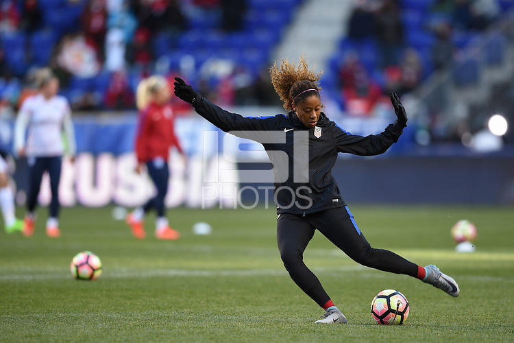 Harrison, NJ - Saturday, March 04, 2017: Casey Short prior to a SheBelieves Cup match between the women's national teams of the United States (USA) and England (ENG) at Red Bull Arena.