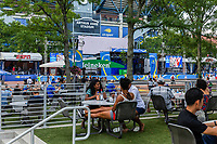 NEW YORK, USA - August 22 : People are seen at fan area during happy hour in US Open Fan week on August 22, 2019 in New York, USA.<br /> People attend US Open the fan week with Featured practice matches with Roger Federer and Novak Djokovic <br /> (Photo by Luis Boza/VIEWpress)