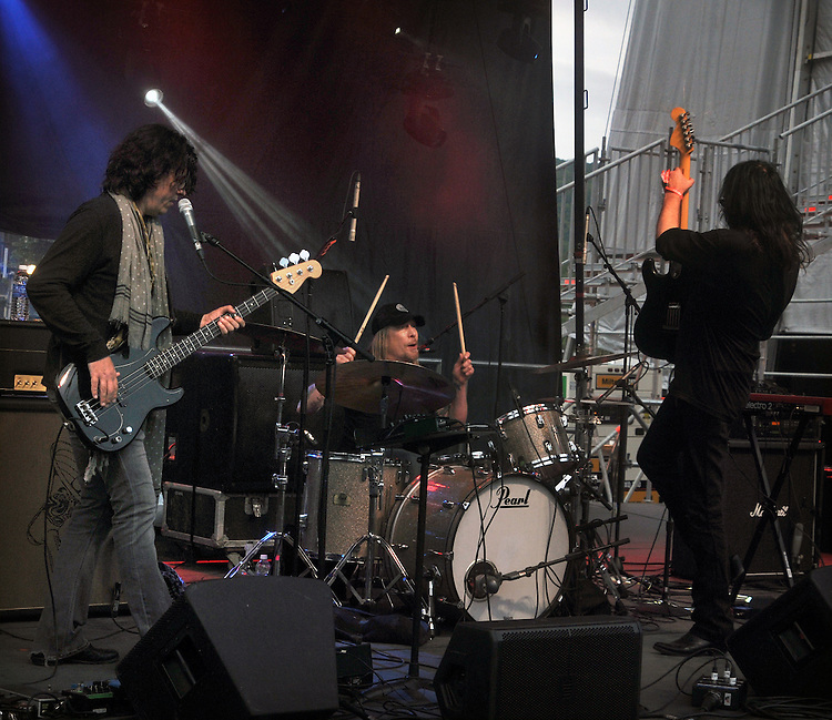 Jorgen Carlsson, Matt Abts, and T-Bone Andersson, of the Planet of the Abts band performing on the West Stage of the Mountain Jam Music Festival of 2015, in Hunter, NY, on Thursday June 4, 2015. Photo by Jim Peppler. Copyright Jim Peppler 2015.