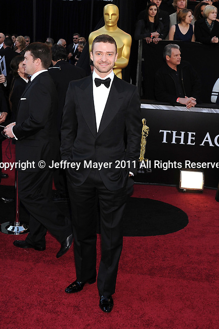 HOLLYWOOD, CA - FEBRUARY 27: Justin Timberlake  arrives at the 83rd Annual Academy Awards held at the Kodak Theatre on February 27, 2011 in Hollywood, California.