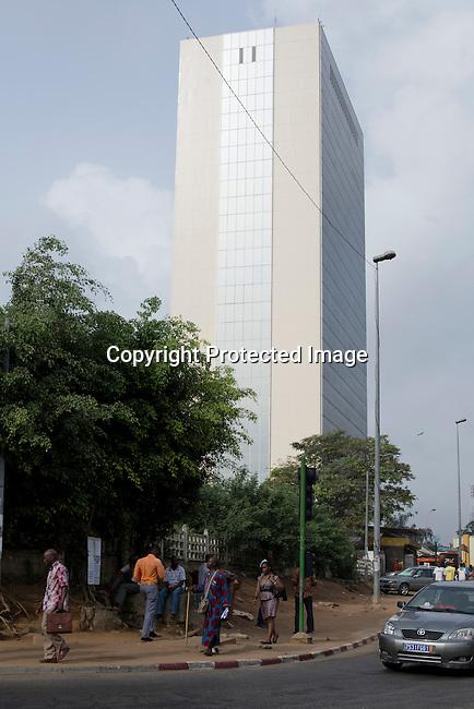 Abidjan, Ivory Coast, Building, Street, Bank, African development Bank, Africa, Economy, People, Vertical, Walking, Business,