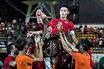 Chan Wai Ho of Hong Kong (C) celebrates with his teammates after played the last match for Hong Kong during the International Friendly match between Hong Kong and Jordan at Mongkok Stadium on June 7, 2017 in Hong Kong, China. Photo by Cris Wong / Power Sport Images