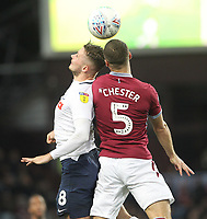 Preston North End's Alan Browne jumps with Aston Villa's James Chester<br /> <br /> Photographer Mick Walker/CameraSport<br /> <br /> The EFL Sky Bet Championship - Aston Villa v Preston North End - Tuesday 2nd October 2018 - Villa Park - Birmingham<br /> <br /> World Copyright &copy; 2018 CameraSport. All rights reserved. 43 Linden Ave. Countesthorpe. Leicester. England. LE8 5PG - Tel: +44 (0) 116 277 4147 - admin@camerasport.com - www.camerasport.com