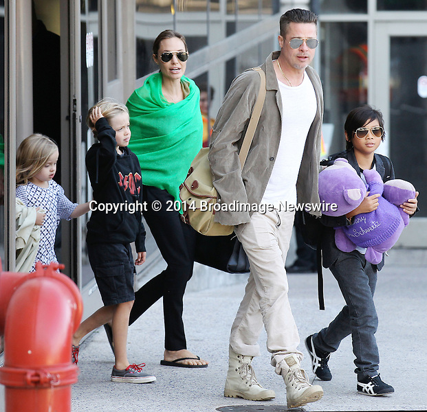 Pictured: Brad Pitt, Angelina Jolie, Shiloh Nouvel Jolie-Pitt, Maddox Chivan Jolie-Pitt, Pax Thien Jolie-Pitt, Knox Leon Jolie-Pitt, Zahara Marley Jolie-Pitt, Vivienne Marcheline Jolie-Pitt<br /> Mandatory Credit &copy; Ben Foster/Broadimage<br /> Brad Pitt, Angelina Jolie and family arriving at the Los Angeles International Airport<br /> <br /> 2/5/14, Los Angeles, California, United States of America<br /> <br /> Broadimage Newswire<br /> Los Angeles 1+  (310) 301-1027<br /> New York      1+  (646) 827-9134<br /> sales@broadimage.com<br /> http://www.broadimage.com<br /> <br /> <br /> Pictured: Brad Pitt, Angelina Jolie, Shiloh Nouvel Jolie-Pitt, Maddox Chivan Jolie-Pitt, Pax Thien Jolie-Pitt, Knox Leon Jolie-Pitt, Zahara Marley Jolie-Pitt, Vivienne Marcheline Jolie-Pitt<br /> Mandatory Credit &copy; Ben Foster/Broadimage<br /> Brad Pitt, Angelina Jolie and family arriving at the Los Angeles International Airport<br /> <br /> 2/5/14, Los Angeles, California, United States of America<br /> Reference: 020514_HDLA_BDG_004<br /> <br /> Broadimage Newswire<br /> Los Angeles 1+  (310) 301-1027<br /> New York      1+  (646) 827-9134<br /> sales@broadimage.com<br /> http://www.broadimage.com