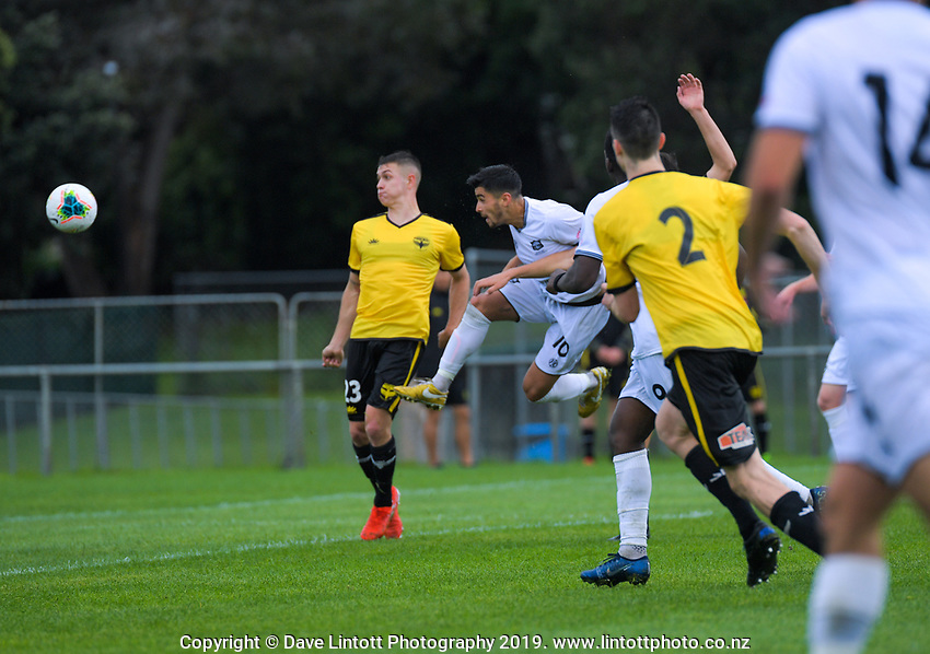 Dylan Sacramento scores his second goal for United during the ISPS Handa Premiership football match between Wellington Phoenix Reserves and Hawkes Bay United at Porirua Park in Wellington, New Zealand on Sunday, 10 November 2019. Photo: Dave Lintott / lintottphoto.co.nz