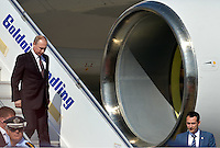 Pictured: Vladimir Putin walks down the steps of his aeroplane upon his arrival to Athens Friday 27 May 2016<br /> Re: Russian President Vladimir Putin arrives at Eleftherios Venizelos Airport near Athens, Greece