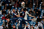 Real Madrid's Karim Benzema fight for the ball during La Liga match between Real Madrid and SD Huesca at Santiago Bernabeu Stadium in Madrid, Spain. March 31, 2019. (ALTERPHOTOS/A. Perez Meca)