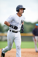 GCL Yankees East catcher Pedro Diaz (53) rounding the bases after hitting a home run in the bottom of the second inning during the first game of a doubleheader against the GCL Yankees West on July 19, 2017 at the Yankees Minor League Complex in Tampa, Florida.  GCL Yankees West defeated the GCL Yankees East 11-2.  (Mike Janes/Four Seam Images)
