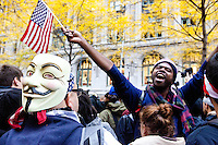 "After marching earlier in the morning with the aim to shut down Wall Street and the Stock Exchange, hundreds of protesters regather in Zuccotti Park on November 17, 2011 in New York City.  The action was the first in a day of protests celebrating the two month anniversary of the ""Occupy Wall Street"" movement.  While many workers were inconvenienced by the human (and police) barricades, the Stock Exchange opened on schedule."