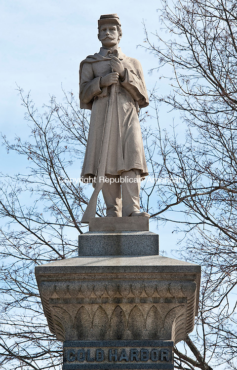 THOMASTON ,  CT,  CT-041115JS03-  The  Soldiers' Monument  at Kenea Park in Thomaston. <br /> Jim Shannon Republican-American