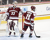 Kevin Boyle (UMass - 33) and Danny Hobbs (UMass - 11) celebrate, but the play was ruled no goal following video review. - The Boston College Eagles defeated the visiting University of Massachusetts-Amherst Minutemen 2-1 in the opening game of their 2012 Hockey East quarterfinal matchup on Friday, March 9, 2012, at Kelley Rink at Conte Forum in Chestnut Hill, Massachusetts.