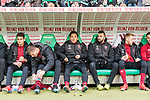 09.02.2019, HDI Arena, Hannover, GER, 1.FBL, Hannover 96 vs 1. FC Nuernberg<br /> <br /> DFL REGULATIONS PROHIBIT ANY USE OF PHOTOGRAPHS AS IMAGE SEQUENCES AND/OR QUASI-VIDEO.<br /> <br /> im Bild / picture shows<br /> Ersatzbank 1. FC N&uuml;rnberg, <br /> Alexander Fuchs (Nuernberg #35), Patrick Erras (Nuernberg #29), Yuya Kubo (Nuernberg #14), Mikael Ishak (Nuernberg #09), Sebastian Kerk (Nuernberg #10), <br /> <br /> Foto &copy; nordphoto / Ewert