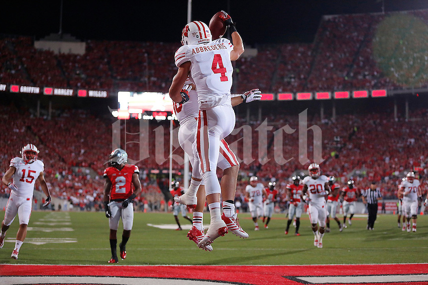 Wisconsin Badgers wide receiver Jared Abbrederis (4) celebrates his touchdown during the first half of the game between Ohio State and Wisconsin at Ohio Stadium on Saturday, September 28, 2013. (Columbus Dispatch photo by Jonathan Quilter)