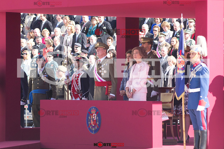 01.10.2012. The Spanish Royal Family, King Juan Carlos, Queen Sofia, Prince Felipe, Princess Letizia and Princess Elena attend the imposition of collective Distinguished Cross San Fernando Al Banner Armored Cavalry Regiment ´Alcántara´ No. 10 in the Royal Palace in Madrid, Spain. In the image King Juan Carlos, Queen Sofia, Prince Felipe, Princess Letizia and Princess Elena (Alterphotos/Marta Gonzalez) /NortePhoto
