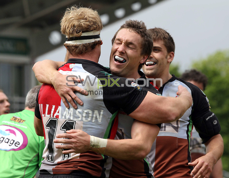 PICTURE BY MARK GREEN/SWPIX.COM - Rugby League - Super League - Harlequins RL V Castleford Tigers  The Stoop, Twickenham, England  - 16/05/10...Harlequins Luke Williamson is congratulated on his try..Copyright - Simon Wilkinson - 07811267706..
