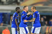 28th September 2017, Goodison Park, Liverpool, England; UEFA Europa League group stage, Everton versus Apollon Limassol; Wayne Rooney of Everton FC celebrates his 21st minute goal for 1-1 with Sandro Ramírez of Everton FC and Idrissa Gueye of Everton FC