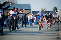Bjorn Leukemans (BEL/Wanty-Groupe Gobert) leading the peloton through the feed zone<br /> <br /> 3 Days of West-Flanders 2015<br /> stage 2: Nieuwpoort - Ichtegem 184km
