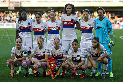 28th March 2018, Mini Estad, Barcelona, Spain; Womens Champions League football, quarter final, 2nd leg, Barcelona Women versus Lyon Women; Lyon team line up