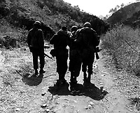 Buddies aid wounded man of 24th Inf. Regt., after a battle 10 miles south of Chorwon, Korea.  April 22, 1951.  Cpl. Tom Nebbia. (Army)<br /> NARA FILE #:  111-SC-365537<br /> WAR & CONFLICT BOOK #:  1446