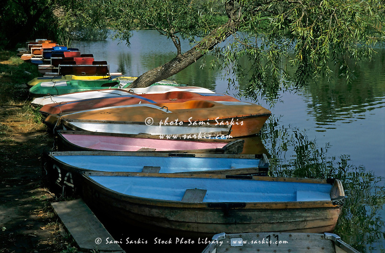 Colorful rowboats on the Rio Tormes, Salamanca, Spain.