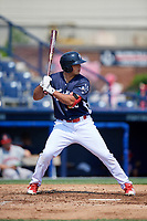 Reading Fightin Phils third baseman Damek Tomscha (13) at bat during the first game of a doubleheader against the Portland Sea Dogs on May 15, 2018 at FirstEnergy Stadium in Reading, Pennsylvania.  Portland defeated Reading 8-4.  (Mike Janes/Four Seam Images)