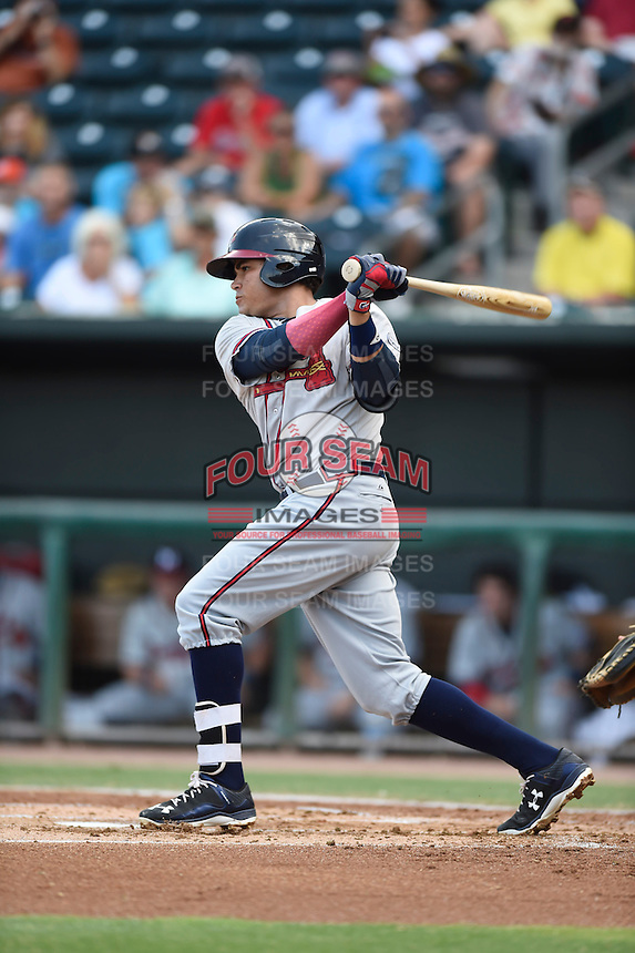 ***Temporary Unedited Reference File***Mississippi Braves third baseman Jordy Lara (25) during a game against the Jacksonville Suns on May 1, 2016 at The Baseball Grounds in Jacksonville, Florida.  Jacksonville defeated Mississippi 3-1.  (Mike Janes/Four Seam Images)