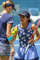 Washington, DC - August 5, 2017:  Shuko Aoyama (JPN) on the right talks with Renata Voracova (CZE) on the left during the match at Rock Creek Park Tennis Center in Washington, DC. (Photo by Elliott Brown/Media Images International)
