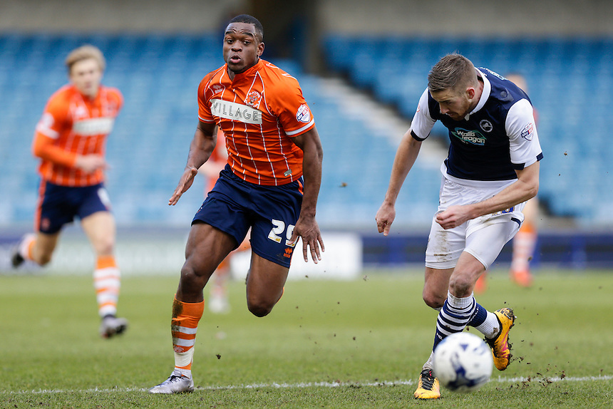 Blackpool's Uche Ikpeazu in action during todays match  <br /> <br /> Photographer Craig Mercer/CameraSport<br /> <br /> Football - The Football League Sky Bet League One - Millwall v Blackpool - Saturday 5th March 2016 - The Den - Millwall<br /> <br /> &copy; CameraSport - 43 Linden Ave. Countesthorpe. Leicester. England. LE8 5PG - Tel: +44 (0) 116 277 4147 - admin@camerasport.com - www.camerasport.com