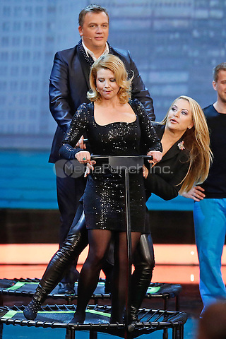 "Anette Frier, Anastacia, Harpe Kerkeling during the 212nd Episode of the German Tv Show ""Wetten dass...?"" ( You Bet! and Wanna Bet?) at the Baden Arena in Offenburg, 05.04.2014. Credit: Hofer/Insight/MediaPunch ***FOR USA ONLY***"