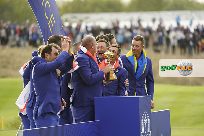 The European Team winners after the singles matches at the Ryder Cup, Le Golf National, Ile-de-France, France. 30/09/2018.<br /> Picture Fran Caffrey / Golffile.ie<br /> <br /> All photo usage must carry mandatory copyright credit (© Golffile | Fran Caffrey)