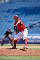 Clearwater Threshers relief pitcher Luis Ramirez (43) during a Florida State League game against the Florida Fire Frogs on April 24, 2019 at Spectrum Field in Clearwater, Florida.  Clearwater defeated Florida 13-1.  (Mike Janes/Four Seam Images)