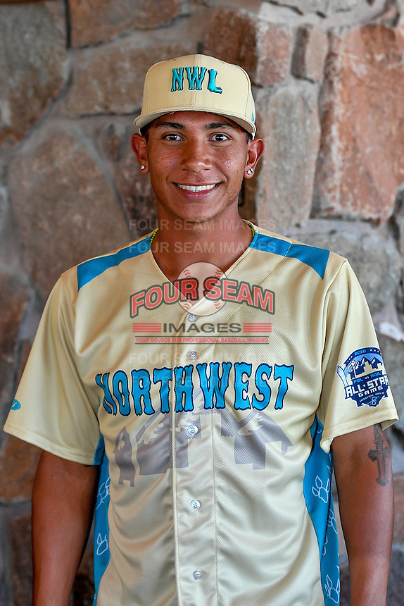 Javier Hernandez (20) of the Vancouver Canadians and the Northwest League All-Stars poses for a photo during activities before the 2nd Annual Northwest League-Pioneer League All-Star Game at Snowbasin Resort on August 1, 2016 in Ogden, Utah. (Stephen Smith/Four Seam Images)