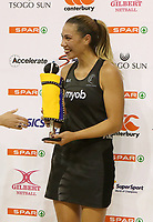 "JOHANNESBURG, SOUTH AFRICA - JANUARY 25: Grace Kara of the Silver Ferns receives the prize for the ""most valuable player"" during the Netball Quad Series netball match between Spar Proteas and Silver Ferns at the Ellis Park Arena in Johannesburg. Mandatory Photo Credit: ©Reg Caldecott/Michael Bradley Photography"