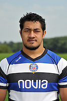 Alafoti Faosiliva poses for a portrait at the squad photocall. Bath Rugby Media Day on August 27, 2013 at Farleigh House in Bath, England. Photo by: Patrick Khachfe/Onside Images