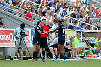 Cary, North Carolina  - Saturday April 29, 2017: Ashley Hatch (12) replaces Jessica McDonald (14) during a regular season National Women's Soccer League (NWSL) match between the North Carolina Courage and the Orlando Pride at Sahlen's Stadium at WakeMed Soccer Park.