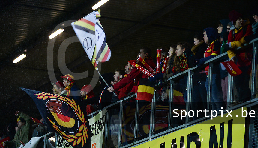 20140212 - ZWOLLE , THE NETHERLANDS : Belgian FANS pictured during the female soccer match between The Netherlands and Belgium , on the fifth matchday in group 5 of the UEFA qualifying round to the FIFA Women World Cup in Canada 2015 at Het Ijseldelta Stadion , Zwolle . Wednesday 12th February 2014 . PHOTO DAVID CATRY
