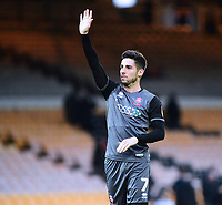 Lincoln City's Tom Pett applauds the fans at the final whistle<br /> <br /> Photographer Andrew Vaughan/CameraSport<br /> <br /> The EFL Sky Bet League Two - Port Vale v Lincoln City - Saturday 13th October 2018 - Vale Park - Burslem<br /> <br /> World Copyright © 2018 CameraSport. All rights reserved. 43 Linden Ave. Countesthorpe. Leicester. England. LE8 5PG - Tel: +44 (0) 116 277 4147 - admin@camerasport.com - www.camerasport.com