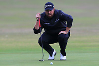 Shane Lowry (IRL) on the 13th green during Round 1of the Sky Sports British Masters at Walton Heath Golf Club in Tadworth, Surrey, England on Thursday 11th Oct 2018.<br /> Picture:  Thos Caffrey | Golffile<br /> <br /> All photo usage must carry mandatory copyright credit (© Golffile | Thos Caffrey)