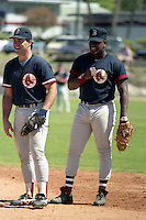 Boston Red Sox Billy Jo Robidoux (left) and Mo Vaughn (right) during spring training circa 1990 at Chain of Lakes Park in Winter Haven, Florida.  (MJA/Four Seam Images)