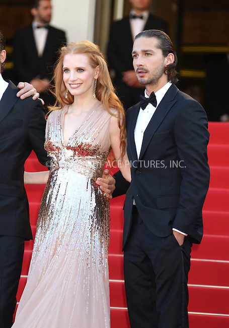 "WWW.ACEPIXS.COM . . . . .  ..... . . . . US SALES ONLY . . . . .....May 18 2012, Cannes.... Jessica Chastain and Shia LaBeouf at the premiere of ""Lawless"" at the Cannes Film Festival on May 18 2012 in France ....Please byline: FAMOUS-ACE PICTURES... . . . .  ....Ace Pictures, Inc:  ..Tel: (212) 243-8787..e-mail: info@acepixs.com..web: http://www.acepixs.com"