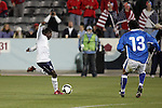 19 November 2008: Freddy Adu (AS Monaco)(10) of the USA take a shot.  The United States Men's National Team defeated the visiting Guatemala Men's National Team 2-0 at Dick's Sporting Goods Park in Commerce City, Colorado in a CONCACAF semifinal round FIFA 2010 South Africa World Cup Qualifier.