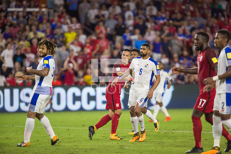 Orlando, FL - Friday Oct. 06, 2017: Bobby Wood watches his ball to the back of the net during a 2018 FIFA World Cup Qualifier between the men's national teams of the United States (USA) and Panama (PAN) at Orlando City Stadium.
