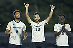 Bruno Lapa (10) of the Wake Forest Demon Deacons during player introductions prior to the match against the North Carolina State Wolfpack at W. Dennie Spry Soccer Stadium on September 7, 2018 in Winston-Salem, North Carolina.  The Demon Deacons defeated the Wolfpack 3-0 in double-overtime.  (Brian Westerholt/Sports On Film)