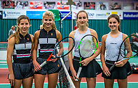 Wateringen, The Netherlands, December 15,  2019, De Rhijenhof , NOJK juniors doubles , Final girls 14 years, Ltr: Isis van den Broek (NED) Nina Kwakman and Annelin Bakker (NED) Rose Marie Nijkamp (NED)<br /> Photo: www.tennisimages.com/Henk Koster