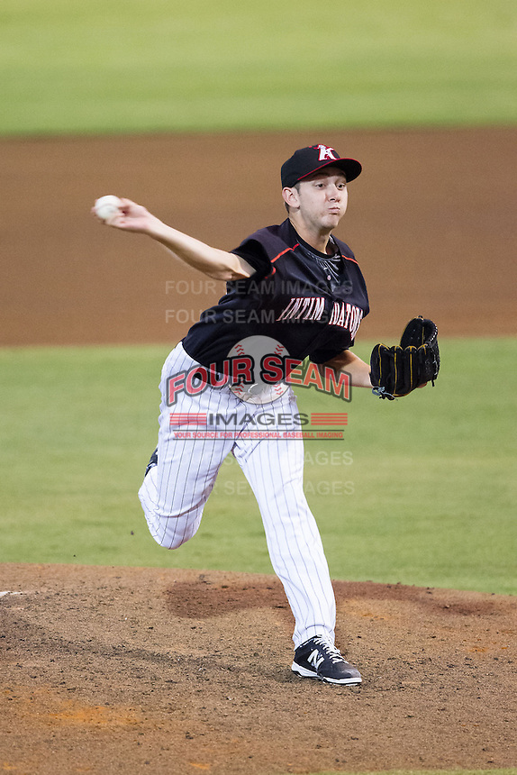 Kannapolis Intimidators relief pitcher Alex Powers (39) in action against the Delmarva Shorebirds at CMC-NorthEast Stadium on July 3, 2014 in Kannapolis, North Carolina.  The Shorebirds defeated the Intimidators 6-5. (Brian Westerholt/Four Seam Images)