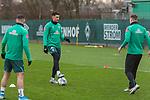 17.01.2020, Trainingsgelaende am wohninvest WESERSTADION,, Bremen, GER, 1.FBL, Werder Bremen Training ,<br /> <br /> <br />  im Bild<br /> <br /> Milos Veljkovic (Werder Bremen #13)<br /> Niklas Moisander (Werder Bremen #18 Kapitaen)<br /> Milot Rashica (Werder Bremen #07)<br /> <br /> Foto © nordphoto / Kokenge