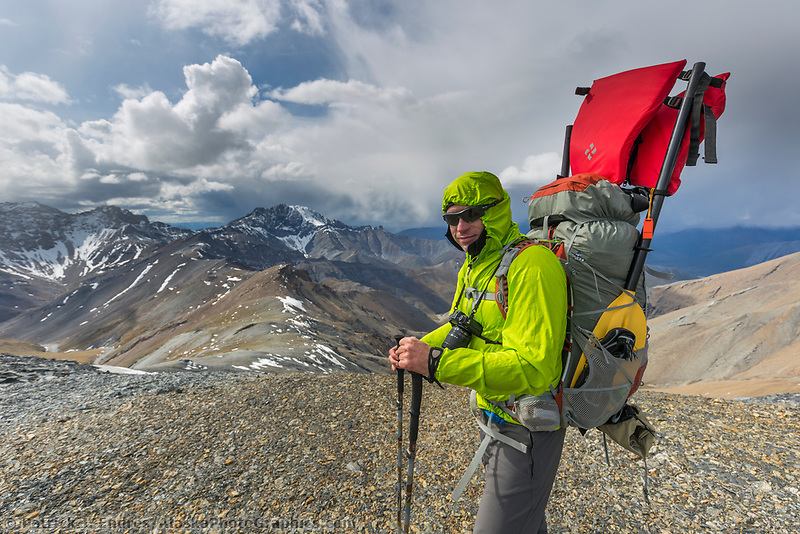 Heath Sandall on a mountain summit while backpacking in the Brooks Range near the Matthews River.