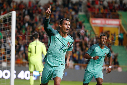 29.03.2016. Leiria, Portugal.  Portugal's Cristiano Ronaldo celebrates his goal during the FIFA international friendly match between Portugal and Belgium as part of the preparation of the Belgian national soccer team prior to the UEFA EURO 2016  in Leiria, Portugal.