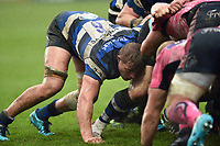 Tom Ellis of Bath Rugby in action at a scrum. Anglo-Welsh Cup Final, between Bath Rugby and Exeter Chiefs on March 30, 2018 at Kingsholm Stadium in Gloucester, England. Photo by: Patrick Khachfe / Onside Images